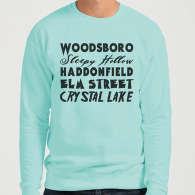 Horror Cities Woodsboro Sleepy Hollow Haddonfield Elm Street Crystal Lake Unisex Sweatshirt - Wake Slay Repeat