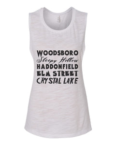 Horror Cities Woodsboro Sleepy Hollow Haddonfield Elm Street Crystal Lake Fitted Muscle Tank - Wake Slay Repeat