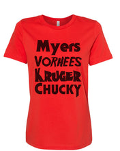 Load image into Gallery viewer, Horror Movie Names Myers Vorhees Kruger Chucky Fitted Women's T Shirt - Wake Slay Repeat
