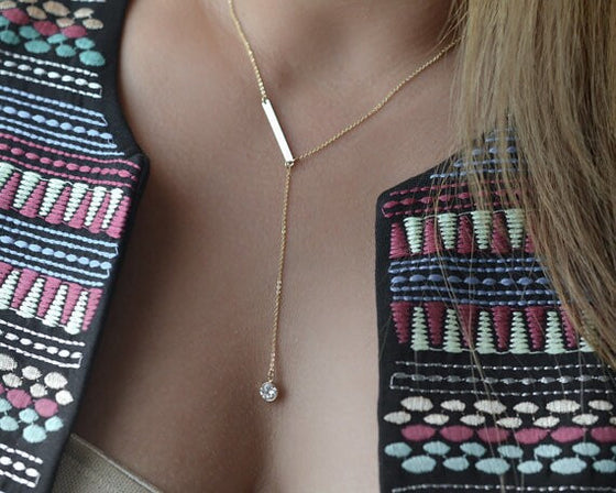Gold Bar Necklace Geometric Pendant - Wake Slay Repeat