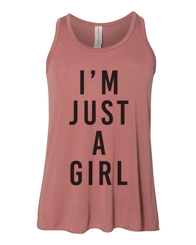 I'm Just A Girl Youth Flowy Racerback Tank - Wake Slay Repeat