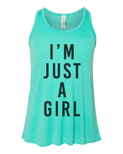 Load image into Gallery viewer, I'm Just A Girl Youth Flowy Racerback Tank - Wake Slay Repeat