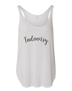 Indoorsy Flowy Side Slit Tank Top - Wake Slay Repeat