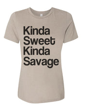 Load image into Gallery viewer, Kinda Sweet Kinda Savage Relaxed Women's T Shirt - Wake Slay Repeat