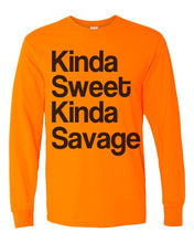 Load image into Gallery viewer, Kinda Sweet Kinda Savage Unisex Long Sleeve T Shirt - Wake Slay Repeat