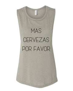 Mas Cervezas Por Favor Fitted Scoop Muscle Tank - Wake Slay Repeat