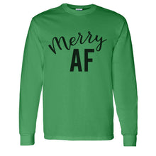 Load image into Gallery viewer, Merry AF Christmas Unisex Long Sleeve T Shirt - Wake Slay Repeat