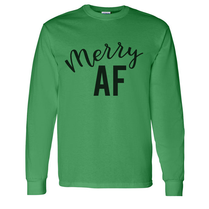 Merry AF Christmas Unisex Long Sleeve T Shirt - Wake Slay Repeat