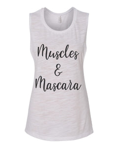 Muscles & Mascara Workout Flowy Scoop Muscle Tank - Wake Slay Repeat