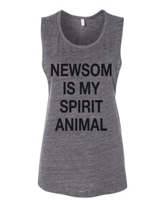 Newsom Is My Spirit Animal Fitted Muscle Tank - Wake Slay Repeat