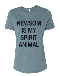 Newsom Is My Spirit Animal Fitted Women's T Shirt - Wake Slay Repeat