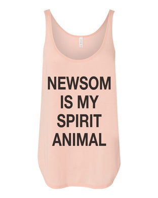 Newsom Is My Spirit Animal Flowy Side Slit Tank Top