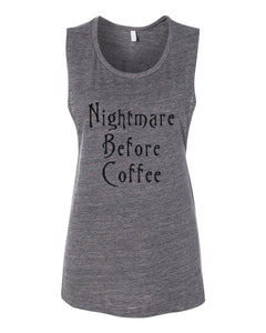 Nightmare Before Coffee Fitted Muscle Tank - Wake Slay Repeat