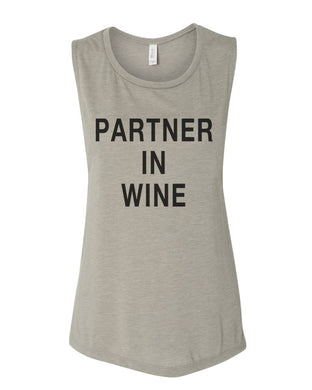 Partner In Wine Flowy Scoop Muscle Tank - Wake Slay Repeat