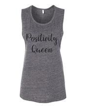 Load image into Gallery viewer, Positivity Queen Flowy Scoop Muscle Tank - Wake Slay Repeat