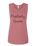 Positivity Queen Flowy Scoop Muscle Tank - Wake Slay Repeat