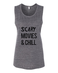 Scary Movies & Chill Fitted Muscle Tank - Wake Slay Repeat