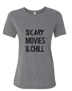 Scary Movies & Chill Fitted Women's T Shirt - Wake Slay Repeat