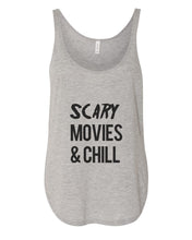 Load image into Gallery viewer, Scary Movies & Chill Flowy Side Slit Tank Top - Wake Slay Repeat