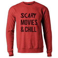 Load image into Gallery viewer, Scary Movies & Chill Unisex Sweatshirt - Wake Slay Repeat