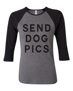 Send Dog Pics Baby Rib 3/4 Sleeve Contrast Raglan Tee - Wake Slay Repeat