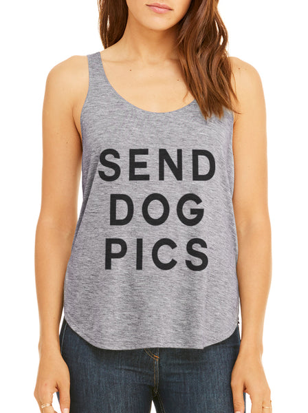 Send Dog Pics Flowy Side Slit Tank Top