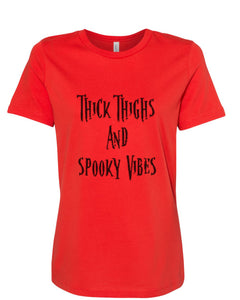 Thick Thighs And Spooky Vibes Fitted Women's T Shirt - Wake Slay Repeat