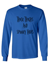 Load image into Gallery viewer, Thick Thighs And Spooky Vibes Unisex Long Sleeve T Shirt - Wake Slay Repeat
