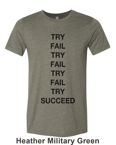 Try Fail Succeed Unisex Short Sleeve T Shirt - Wake Slay Repeat