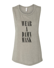 Load image into Gallery viewer, Wear A Damn Mask Fitted Muscle Tank - Wake Slay Repeat