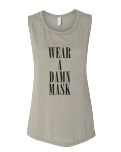 Wear A Damn Mask Fitted Muscle Tank - Wake Slay Repeat