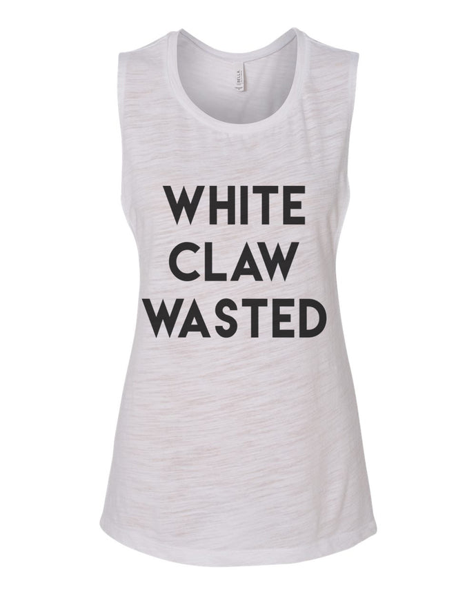 White Claw Wasted Fitted Scoop Muscle Tank - Wake Slay Repeat