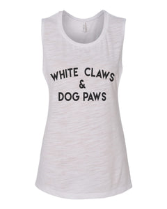 White Claws & Dog Paws Fitted Scoop Muscle Tank - Wake Slay Repeat