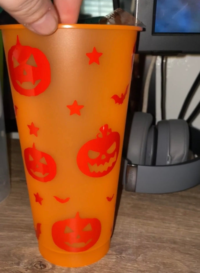 Full Wrap Halloween Pumpkins Reusable Color Changing Cold Cup - Wake Slay Repeat