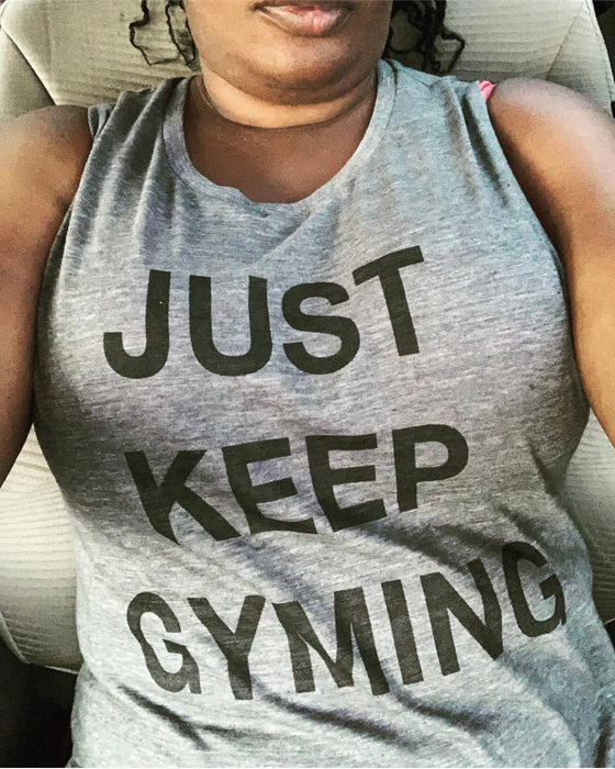 Just Keep Gyming Flowy Scoop Muscle Tank