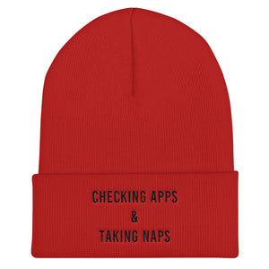 Checking Apps & Taking Naps Cuffed Black Thread Beanie - Wake Slay Repeat