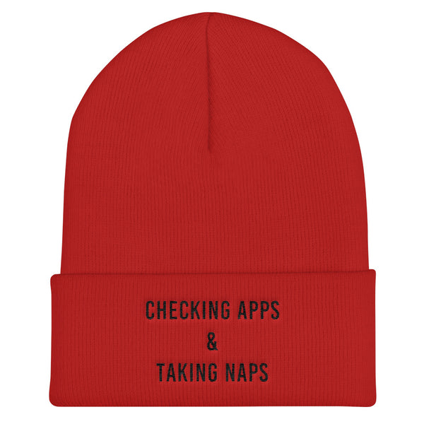 Checking Apps & Taking Naps Cuffed Black Thread Beanie