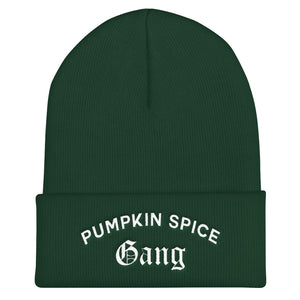 Pumpkin Spice Gang Cuffed White Thread Beanie - Wake Slay Repeat