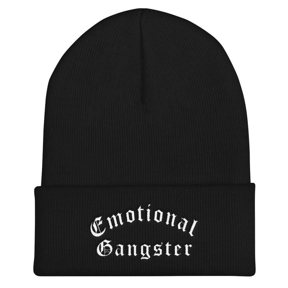 Emotional Gangster Cuffed White Thread Beanie