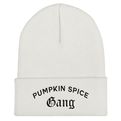 Pumpkin Spice Gang Cuffed Black Thread Beanie