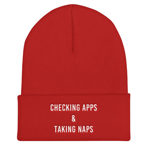 Checking Apps & Taking Naps Cuffed White Thread Beanie - Wake Slay Repeat