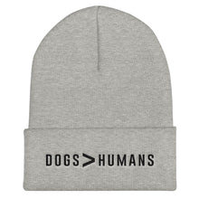Load image into Gallery viewer, Dogs > Human Cuffed Black Thread Beanie - Wake Slay Repeat