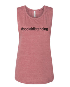 #socialdistancing Fitted Muscle Tank - Wake Slay Repeat