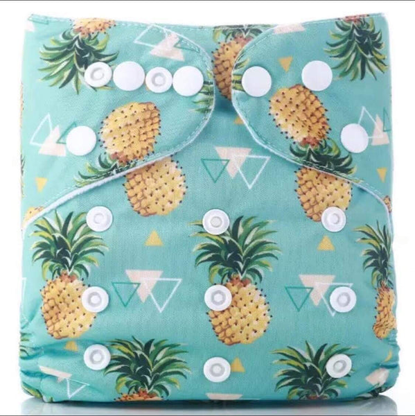 """Pineapples"" Hybrid Reusable Nappy"