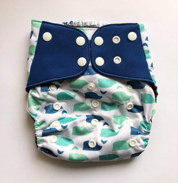 """Whales"" Pocket Reusable Nappy"