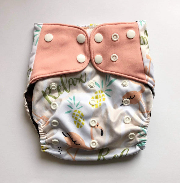 """Flamingos"" Pocket Reusable Nappy"
