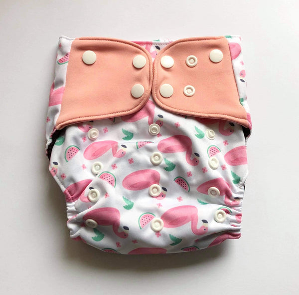 """Watermelon Flamingos"" Pocket Reusable Nappy"