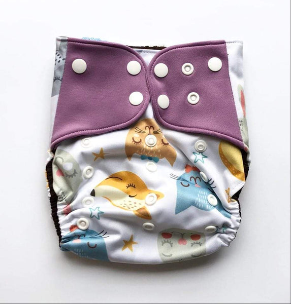 """Cats and Fox"" Pocket Reusable Nappy"