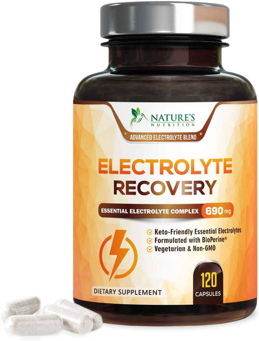 Electrolyte Capsules Extra Strength Salts 690mg - Keto, Cramps, Rehydration, Recovery - Made in USA - Electrolytes Replacement with Magnesium, Sodium, Potassium, Calcium