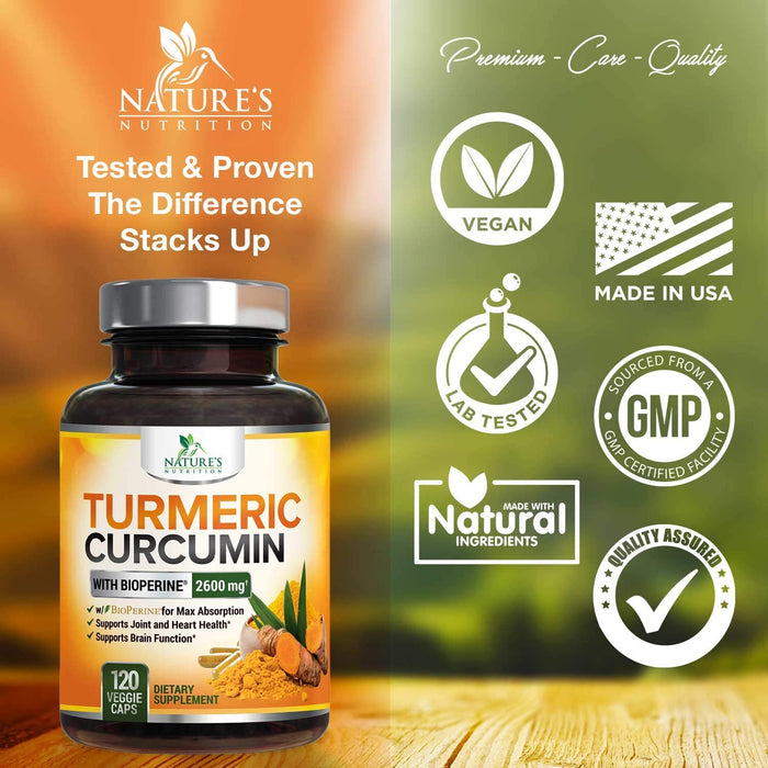 Turmeric Curcumin with Bioperine 95% Curcuminoids 2600mg with Black Pepper for Best Absorption, Made in USA, Best Vegan Joint Support, Turmeric Supplement by Natures Nutrition